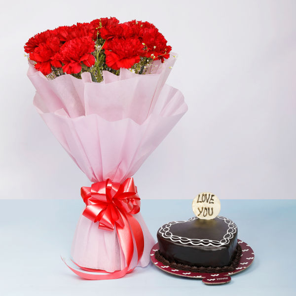 Buy Chocolate Cake With Carnations