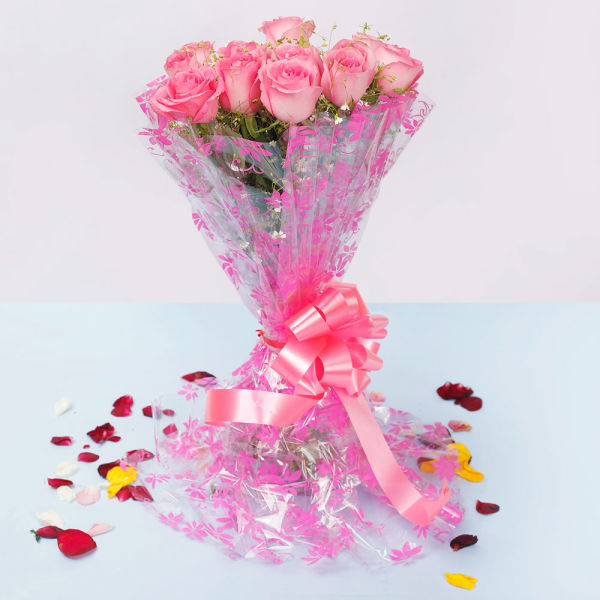 12 Pink Roses Bouquet: pink flowers online