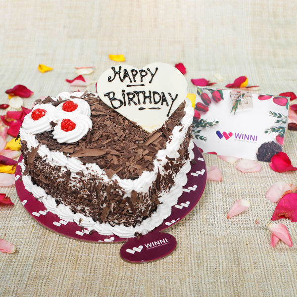 Buy Birthday Heart Shape Black Forest Cake