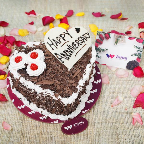 Buy Anniversary Heart Shape Black Forest Cake