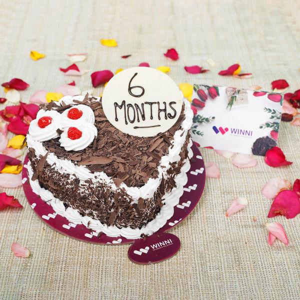 Buy 6 Months Heart Shape Black Forest Cake