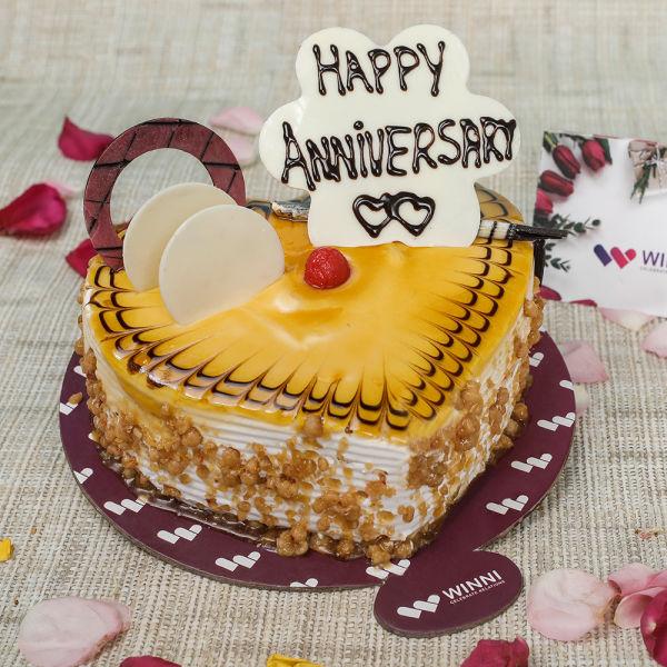Buy Anniversary Butterscotch Heart Shape Cake