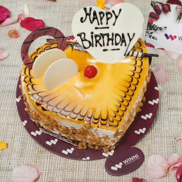 Buy Birthday Butterscotch Heart Shape Cake