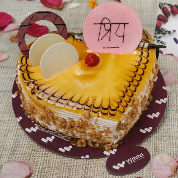 Buy Priya Butterscotch Heart Shape Cake