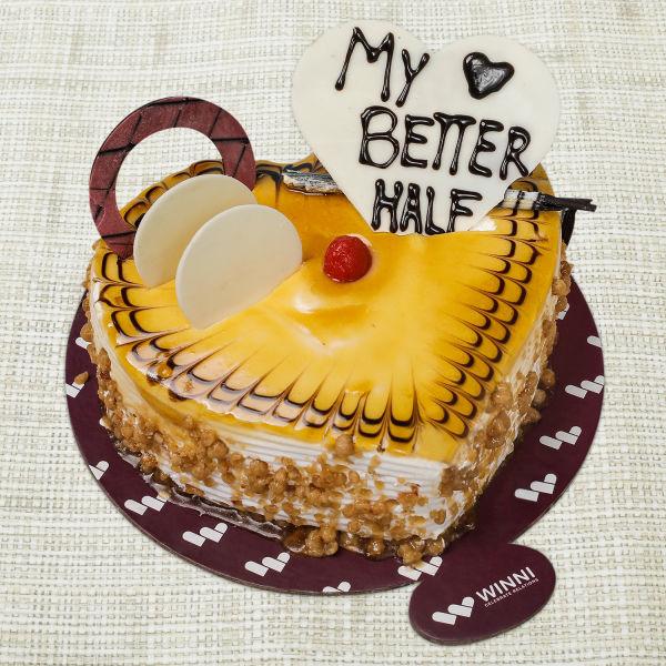 Buy My Better Half Butterscotch Heart Shape Cake