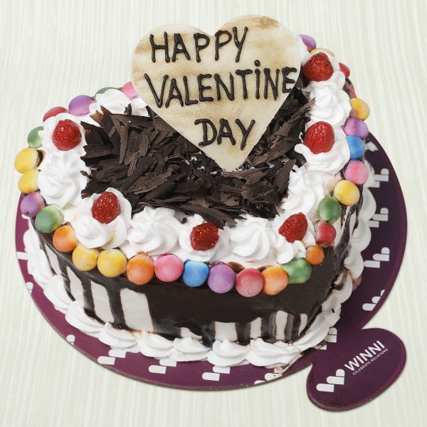 Buy Valentine Black Forest Gem Heart Shape Cake