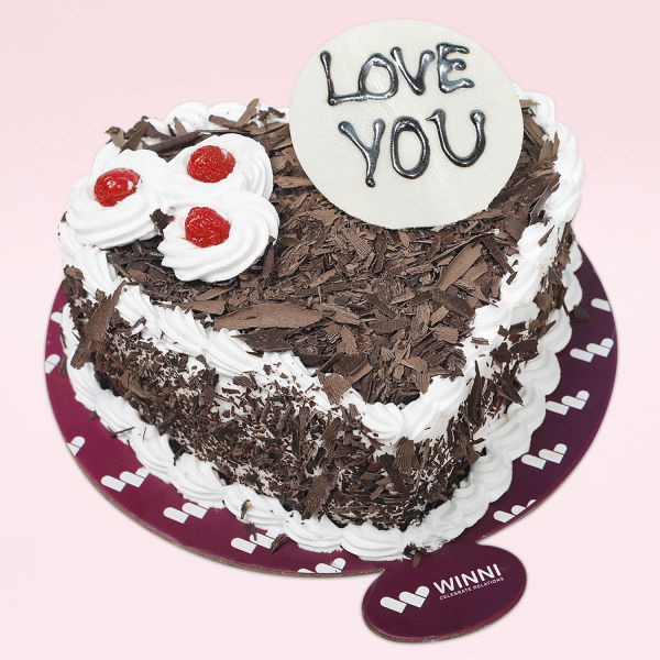 Buy Love You Heart Shape Black Forest Cake