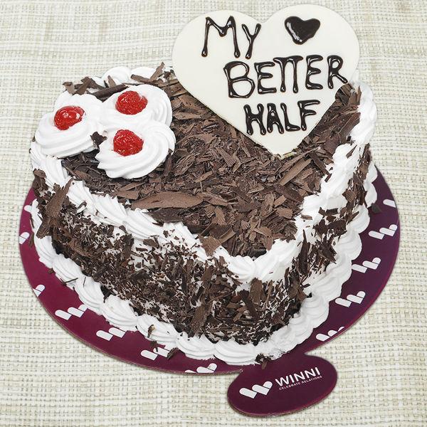 Buy My Better Half Heart Shape Black Forest Cake