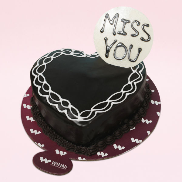 Buy MIss U Heart Shape Chocolate Cake