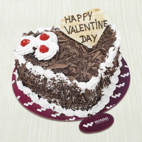 Buy Valentine Heart Shape Black Forest Cake