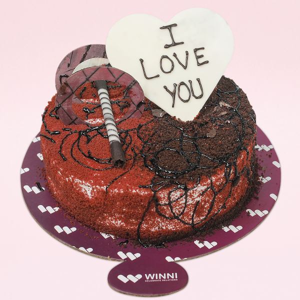 Buy I Love You Fusion Red Velvet and Chocolate Cake