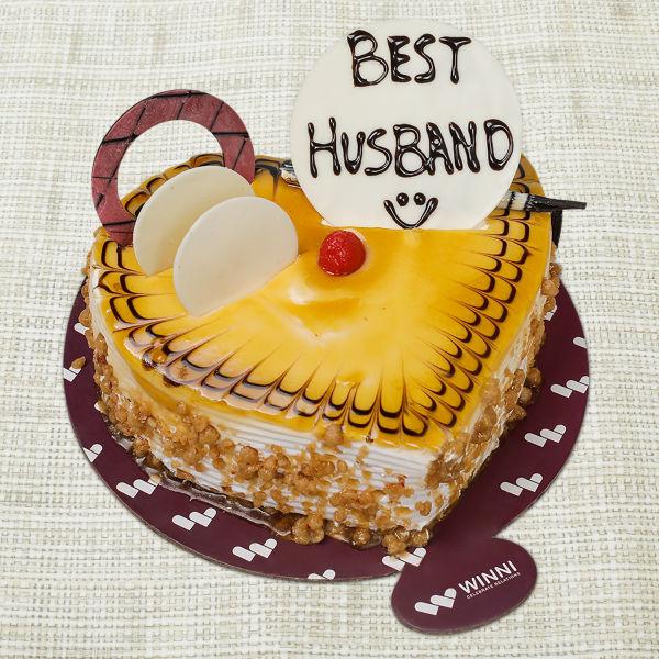 Buy Best Husband Butterscotch Heart Shape Cake