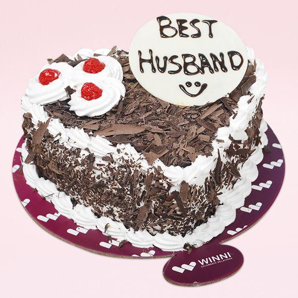 Buy Best Husband Heart Shape Black Forest Cake