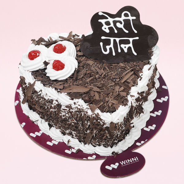 Buy Meri Jaan Heart Shape Black Forest Cake