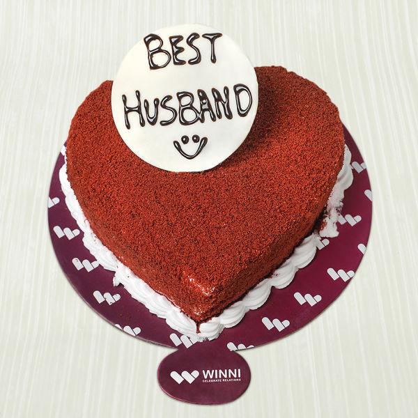 Buy Best Husband Red Velvet Heart Shape Cake