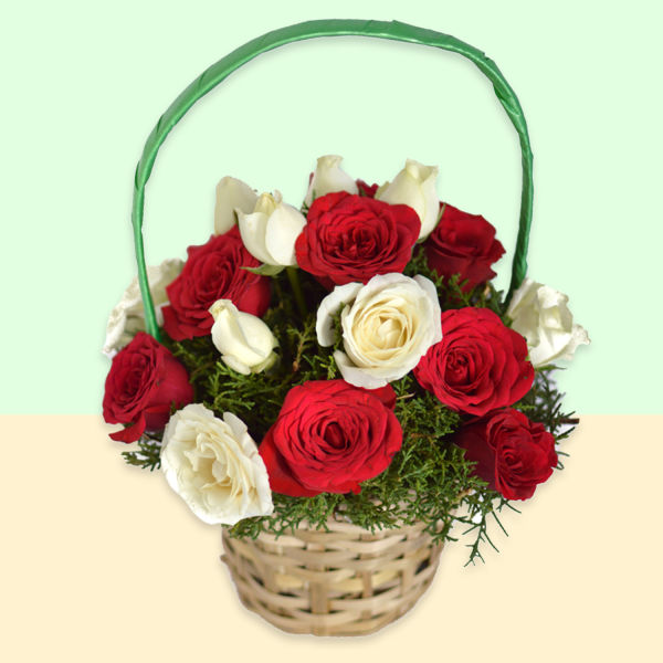 Buy Radiant Wishes  A basket of Red and  White Roses