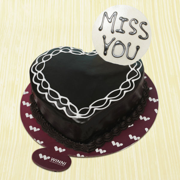 Buy Miss You Heart Shape Chocolate Cake