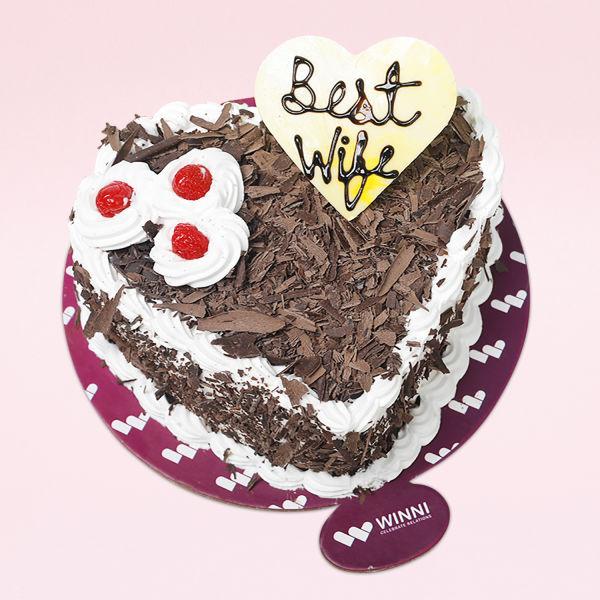 Buy Best WIfe Heart Shape Black Forest Cake