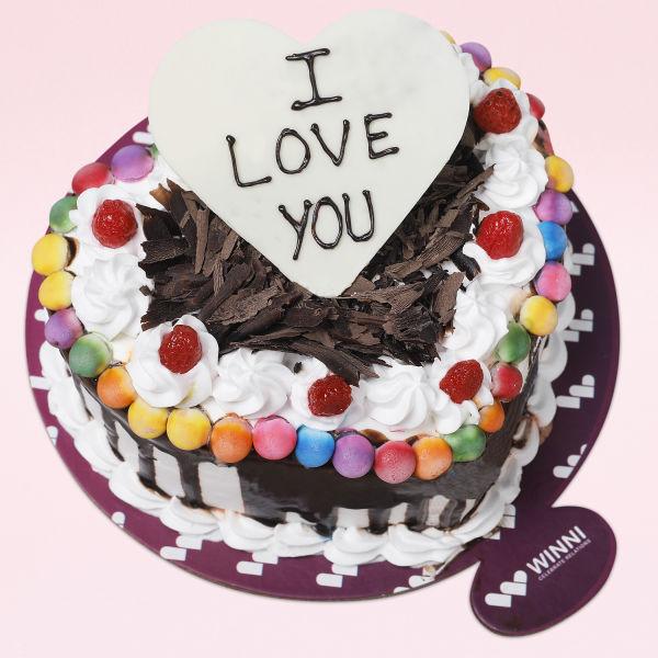 Buy Love You Black Forest Gem Heart Shape Cake