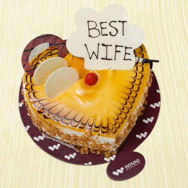 Buy Best Wife Butterscotch Heart Shape Cake