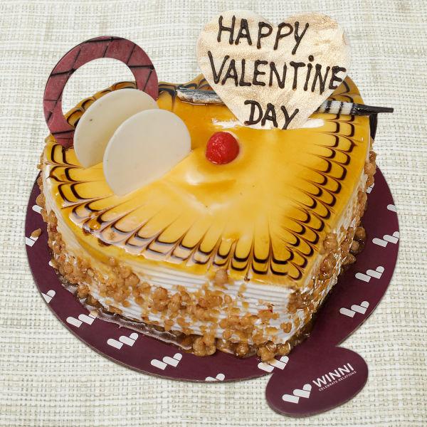 Buy Valentine Butterscotch Heart Shape Cake