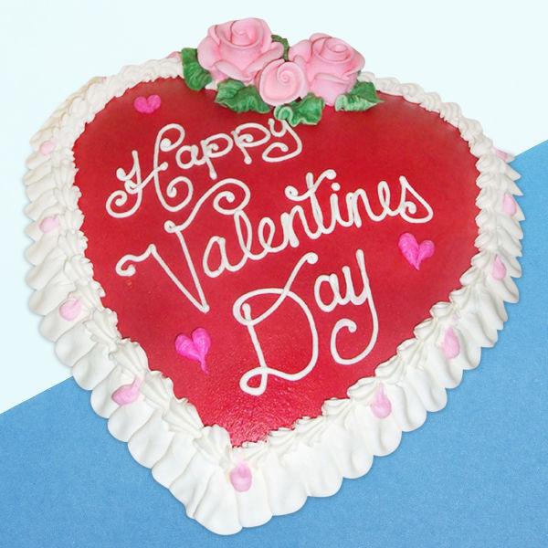 Buy Vanilla valentines heart shape cake