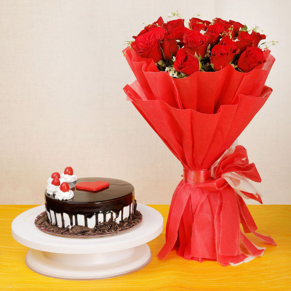 Buy Choco Vanilla Cake And 20 Red Roses