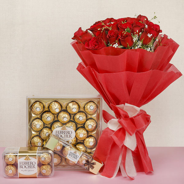Buy Roses With Chocolate Delight