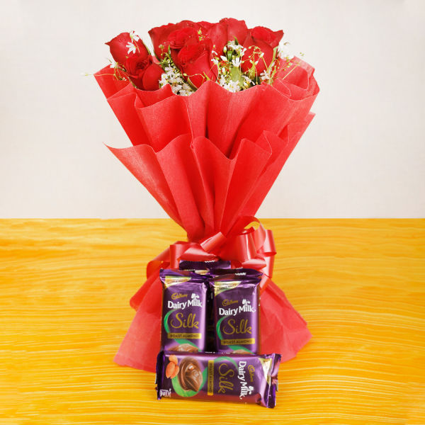 Buy 10 Red Roses And 5 Silk Chocolate