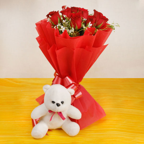 Buy 10 Red Roses And Small White Teddy Bear