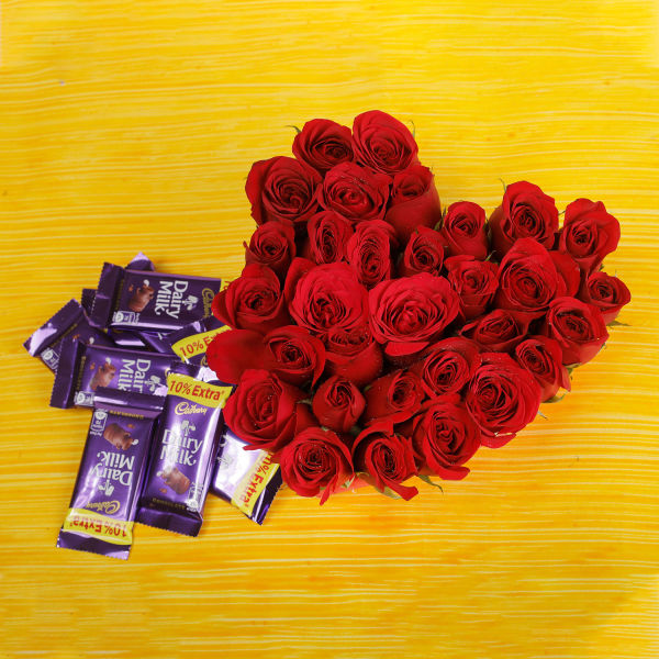 Buy 30 Red Roses And Dairy Milk Chocolates