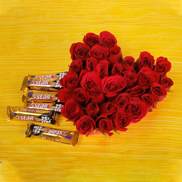Buy 30 Red Roses And 5Star Chocolates