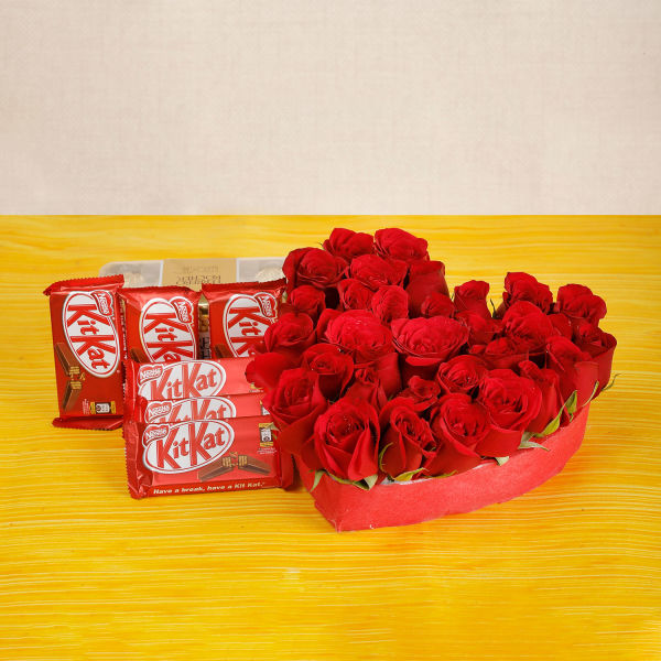 Buy 30 Red Roses And Kitkat Chocolates