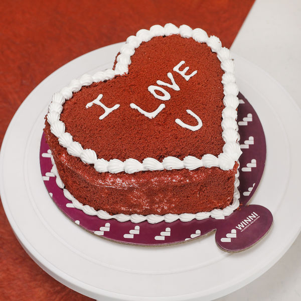 Buy Lovely Red Velvet Heart Shape cake