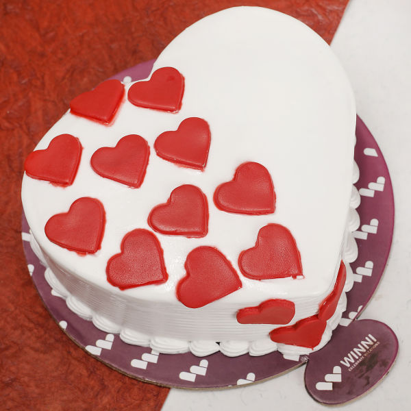 Buy Yummy Vanilla Heart Shape Cake