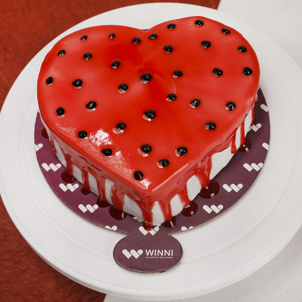 Buy Yummy Strawberry Heart Shape Cake