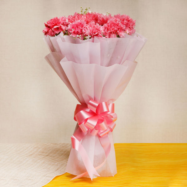 Pink Carnations In Pink Packing: order bouquet online