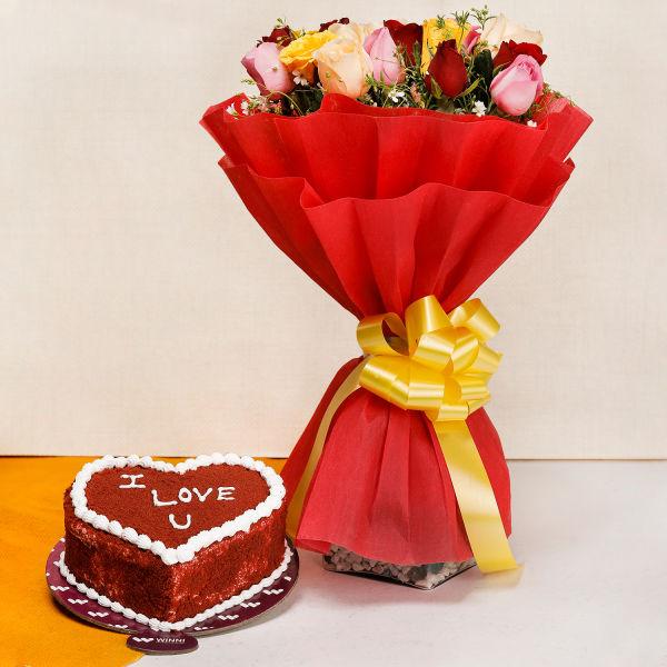 Buy 20 Mixed Roses and Red Velvet Cake