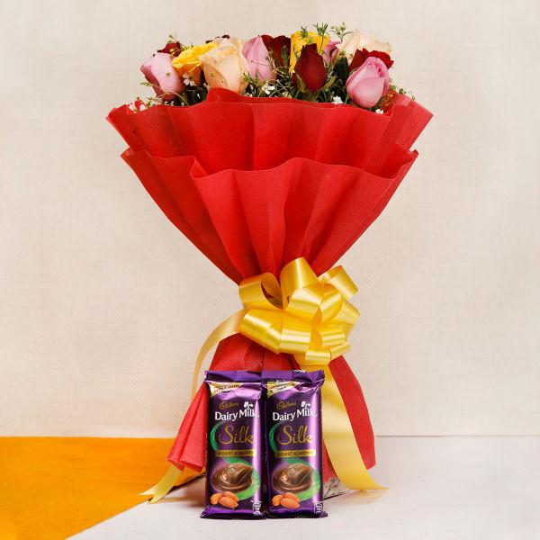 Buy 20 Mixed Roses and Silk Chocolates