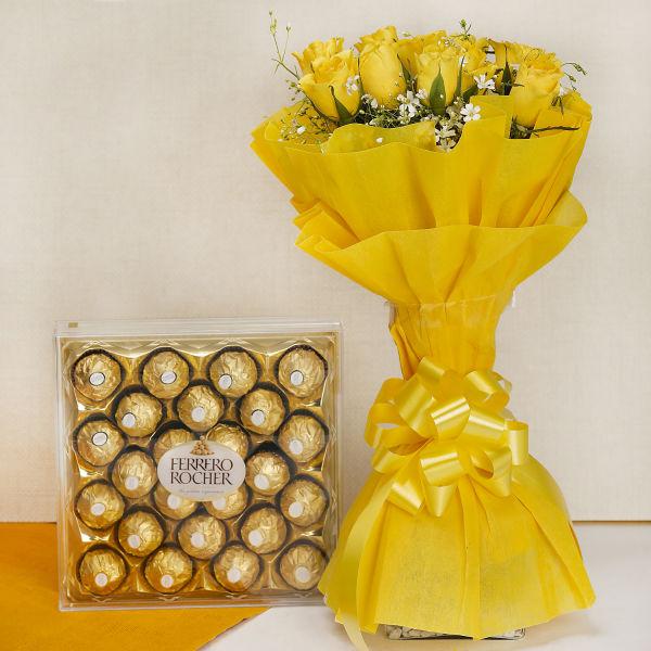 Buy 10 Yellow Roses with Ferrero