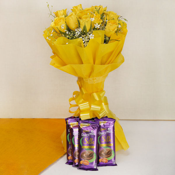 Buy 10 Yellow Roses with 5 Silk Chocolates