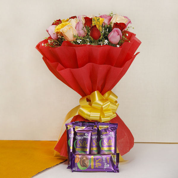 Buy 20 Mixed Roses with 5 Silk Chocolates