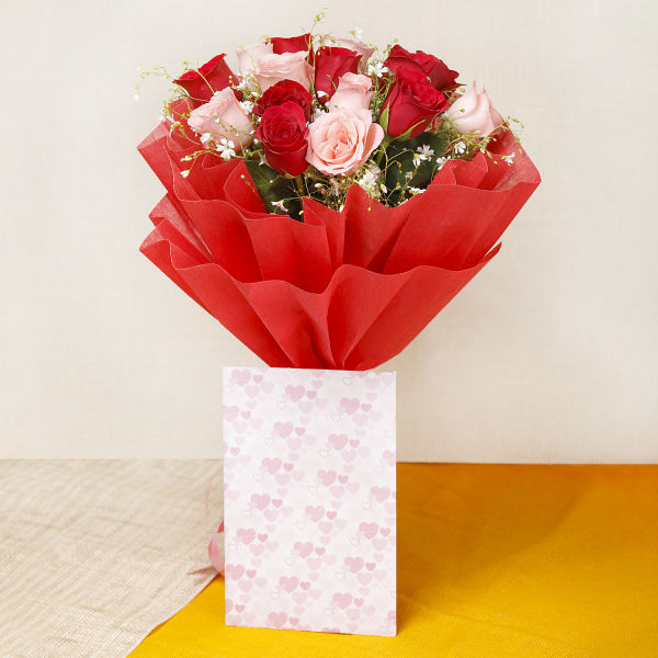 Buy 15 Red And Pink Roses With Greeting card