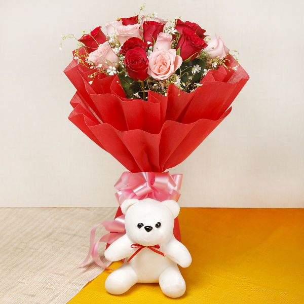 Buy 15 Red And Pink Roses With White Teddy