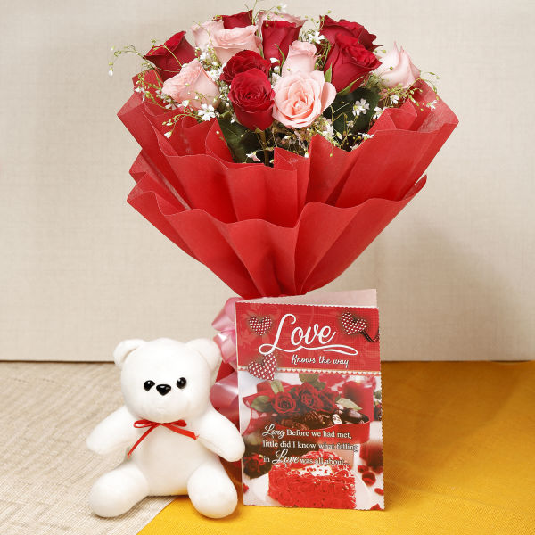 Buy 15 Roses And White Teddy With Card