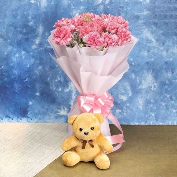 Pink Carnations And Small Brown Teddy: flowers delivery