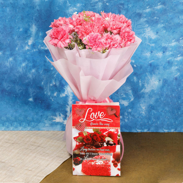 Buy 12 Pink Carnations And Love Card