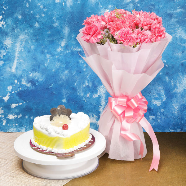 Buy 12 Pink Carnations And Pineapple Cake
