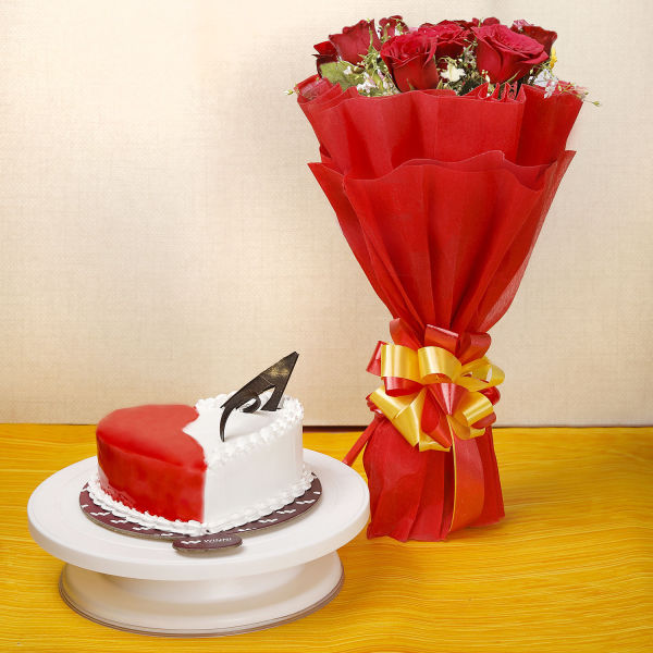 Buy Strawberry Vanilla Cake With Red Roses