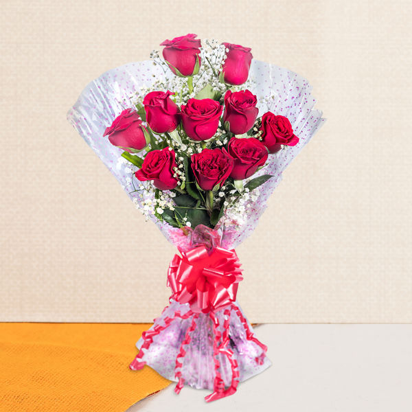 Lovingly Yours A bunch of 10 Red Roses: order flowers